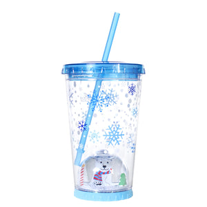 Light Blue / Polar Bear Snowflakes 21 Oz Light Up Holiday Snowglobe Chiller at Cool Gear Winter Holiday