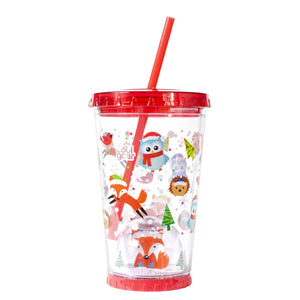 Red / Holiday Woodland Creatures 21 Oz Light Up Holiday Snowglobe Chiller at Cool Gear Winter Holiday