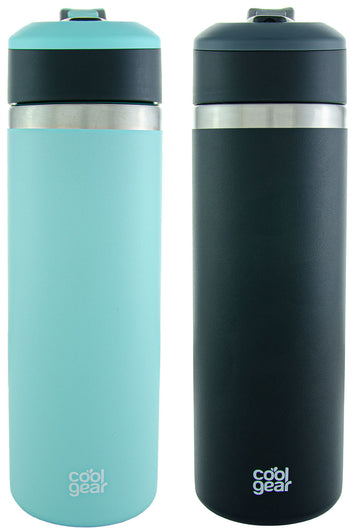 2 Pack COOL GEAR System Pivot 22oz Stainless Steel Water Bottle | Silicone Tension Strap Water Bottle