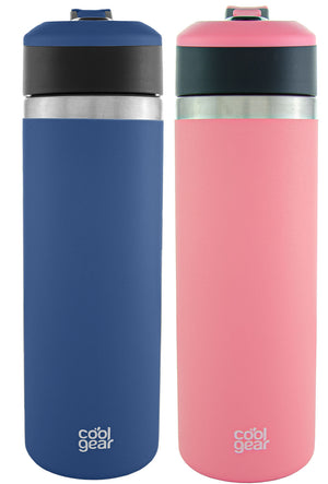 COOL GEAR System Pivot 22oz Stainless Steel Water Bottle | Silicone Tension Strap Tumbler