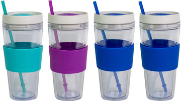4 Pack COOL GEAR 24 oz Callisto Clear Chiller with Straw and Band | Dual Function Spill-Proof Closure Colored Re-Usable Tumbler Water Bottle