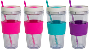 COOL GEAR 24 oz Callisto Clear Chiller with Straw and Band | Dual Function Spill-Proof Closure Colored Re-Usable Tumbler Water Bottle (4 Pack)