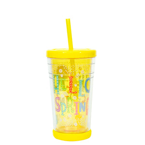 Cool Gear | 12 Oz Easter Printed Chiller Tumbler in Pastel Yellow / Hello Spring
