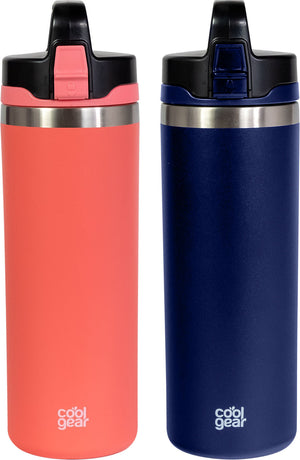 2 Pack COOL GEAR Niagara 25oz Stainless Steel Water Bottle | Locking lid | Pull up sipper