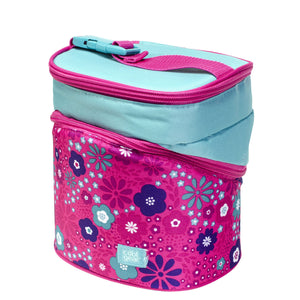 Pink / Aqua Flowers Wedge Insulated Lunch Bag at Cool Gear Lunch Bags