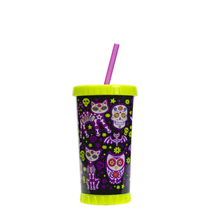 Green / Sugar Skull Cuties 16 Oz Light Up Halloween Tumbler at Cool Gear Halloween