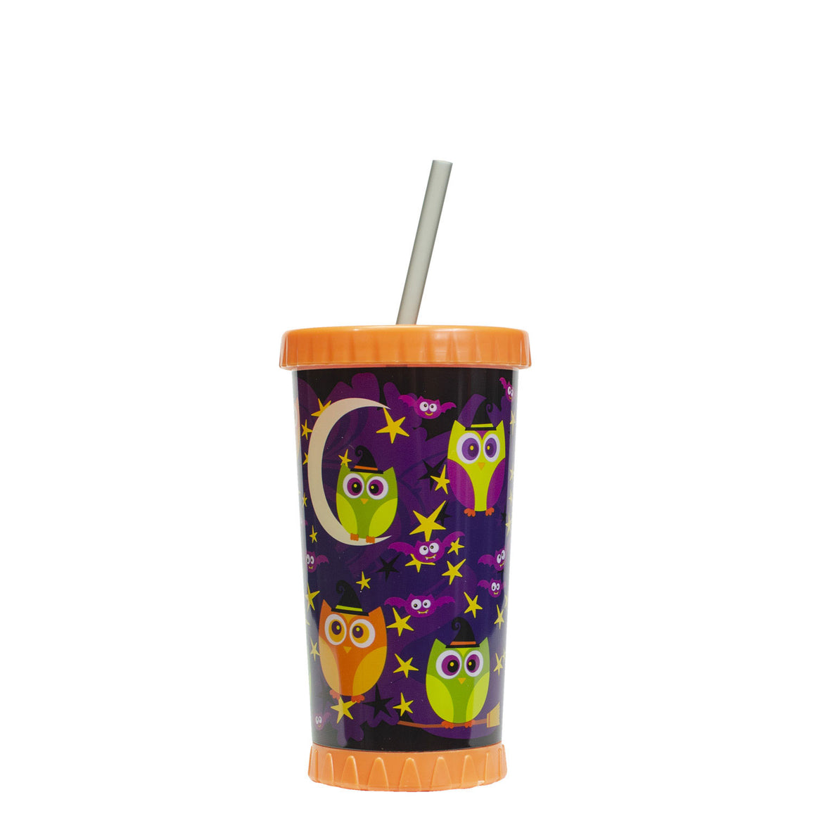Orange / Magic Night Owls 16 Oz Light Up Halloween Tumbler at Cool Gear Halloween