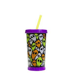 Purple / Spooky Skulls 16 Oz Light Up Halloween Tumbler at Cool Gear Halloween