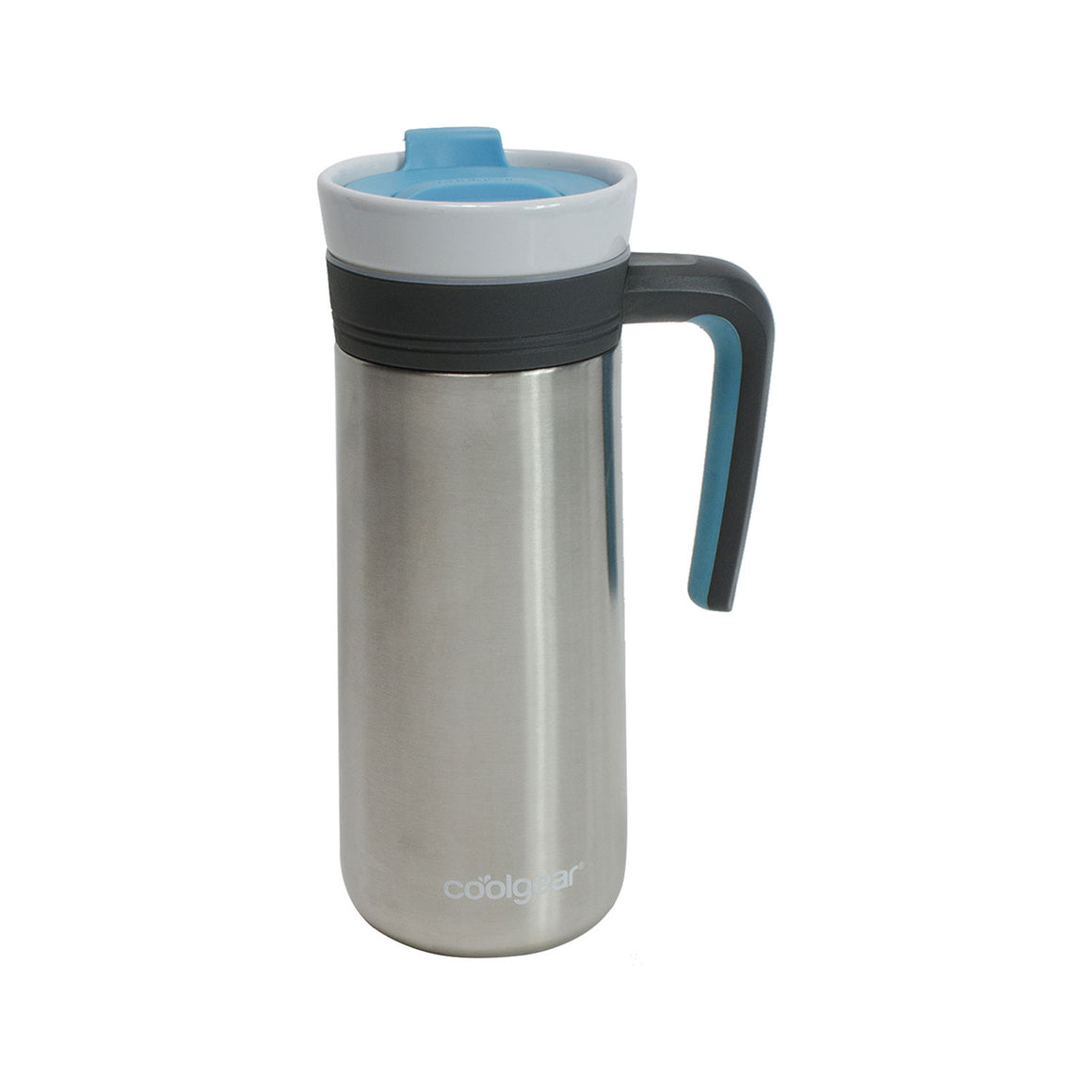 Aquamarine Kona Handle 12 Oz Travel Mug at Cool Gear Coffee Tea,Travel Mugs,Stainless Steel