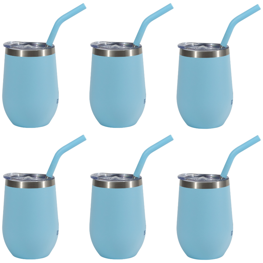 Elev8 American Designed, Copper Lined, Double Wall Wine Tumbler, Vacuum Sealed, Splash Guard Pressure Fit Lid and Matching Stainless Steel Straw with silicon topper, 6 Pack -14 oz