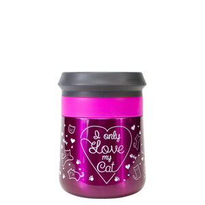 Pink / I Only Love My Cat Valentines Stainless Steel Coozie at Cool Gear Valentines