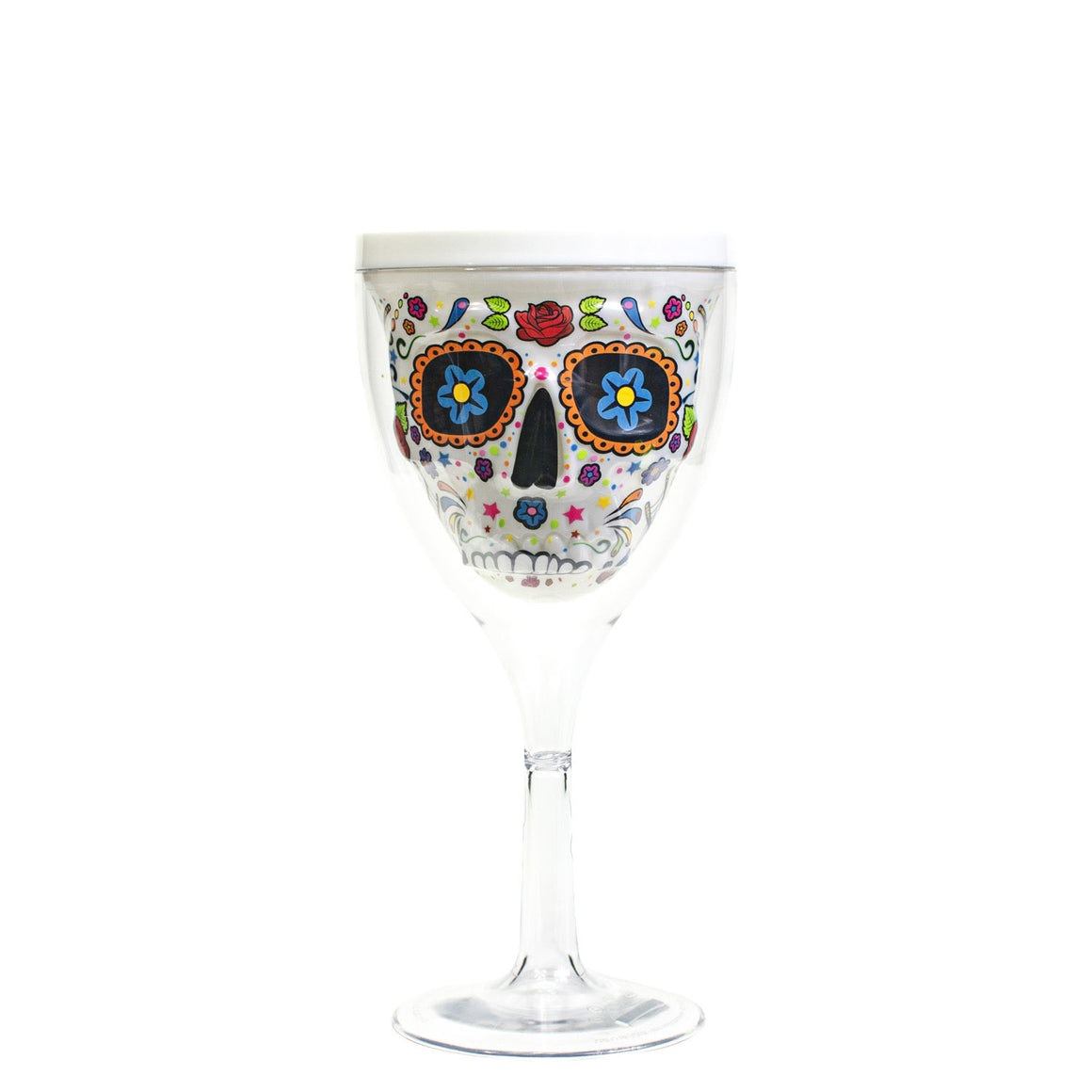 Pink 12 Oz Halloween Sugar Skull Wine Glass at Cool Gear Halloween