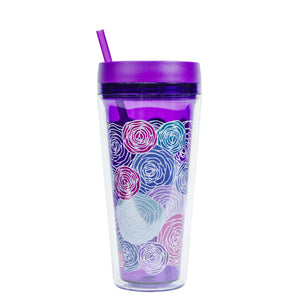 Bright Purple / Bubblyroses Callisto 24 Oz Printed Chiller at Cool Gear Tumblers