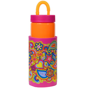 Orange / Flower Paisley Retro 32 Oz Water Bottle at Cool Gear Water Bottles