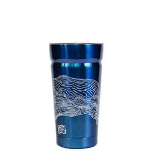 Bright Blue / Topography Cayambe 20 Oz Printed Tumbler With Lid at Cool Gear Tumblers,Stainless Steel