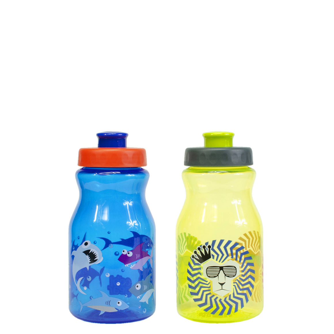 Tottie 12 Oz Printed Water Bottles 2-Pk in Dark Blue Sharks / Green Lions at Cool Gear