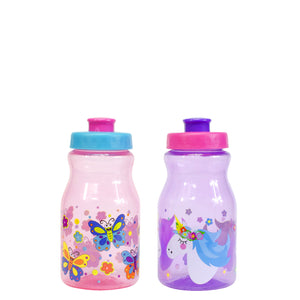 Tottie 12 Oz Printed Water Bottles 2-Pk in Purple Unicorns / Pink Butterflies at Cool Gear