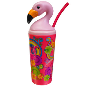 Dark Pink / Flowers Flamingo 18 Oz Tumbler at Cool Gear Tumblers
