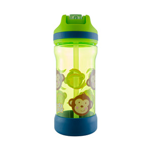 Cool Gear | Kicker Sipper 16 Oz Printed Water Bottle in Lime Green / Monkeys