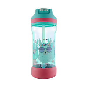 Cool Gear | Kicker Sipper 16 Oz Printed Water Bottle in Teal / Llamas