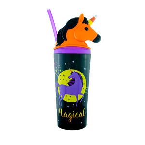 Cool Gear | 18 Oz Halloween BOOnicorn Tumbler in Black / Magical Candy Horn