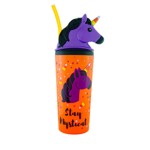Cool Gear | 18 Oz Halloween BOOnicorn Tumbler in Orange / Unicorn Candy Horn
