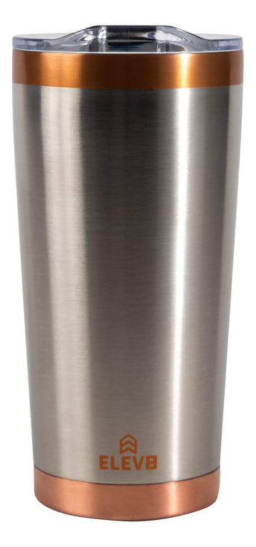 Eleve8 American Designed, Stainless Steel, Rust-Free Tumbler with Copper Plated Lip and Pressure Fit Lid with Splash Guard  - 2 Pack - 20 oz (Raw Stainless)