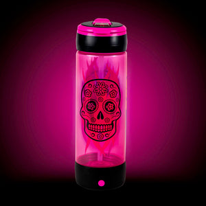 POP LIGHTS 24oz LIGHT UP SUGAR SKULL Halloween Water Bottle:By Cool Gear