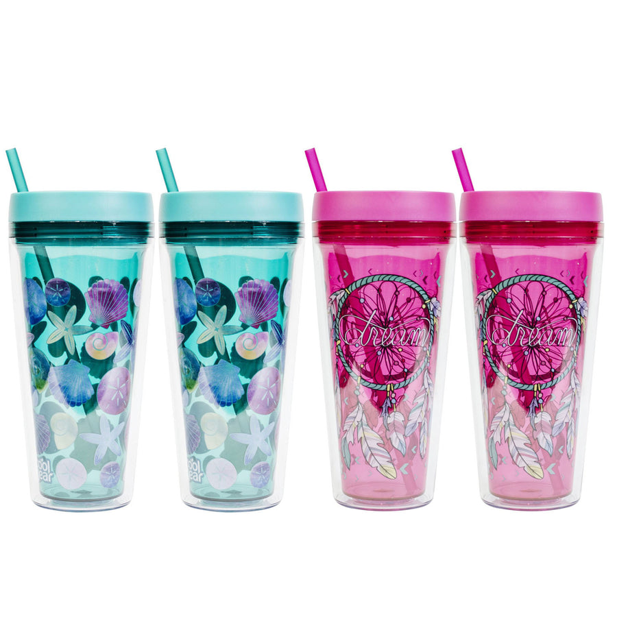 4 Pack COOL GEAR 24 oz Callisto Printed Chiller with Straw | Dual Function Spill-Proof Closure Printed Re-Usable Tumbler Water Bottle