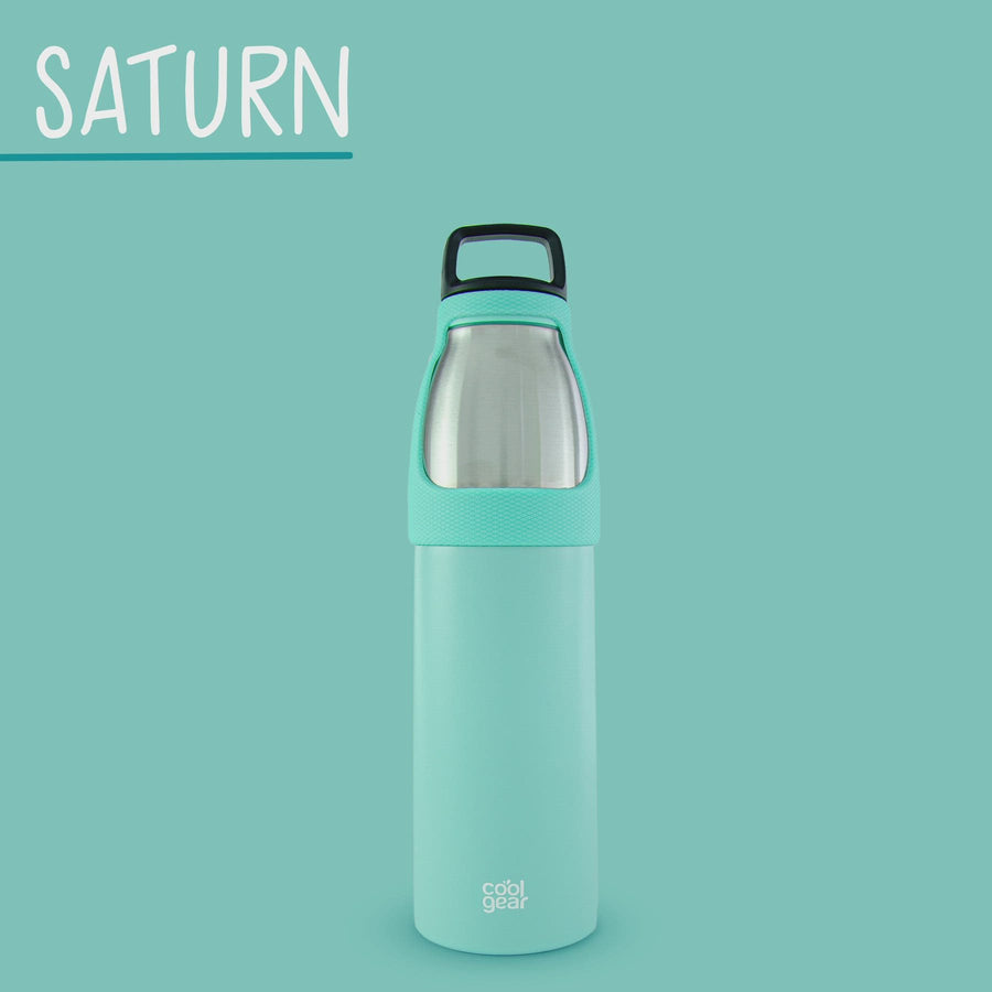 2 Pack COOL GEAR Saturn 24oz Stainless Steel Water Bottle | Silicone Tension Strap Tumbler