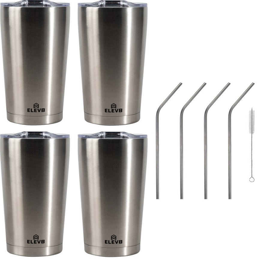 Elev8 American Designed, Double Wall Vacuum Sealed Tumbler with Pressure Fit Lid and Stainless Steel Straw, 4 Pack - 20 oz