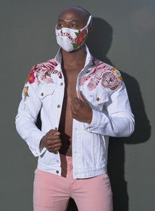 Pink tiger on white denim - jacket and face-mask