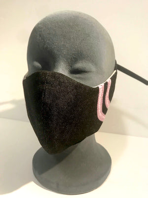 Black denim mask