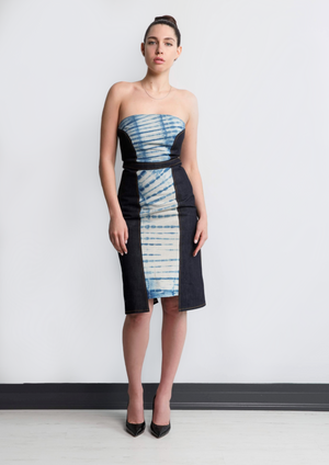 Strapless Shibori Denim Midi Dress | Tanya Theberge Sustainable Fashion Toronto
