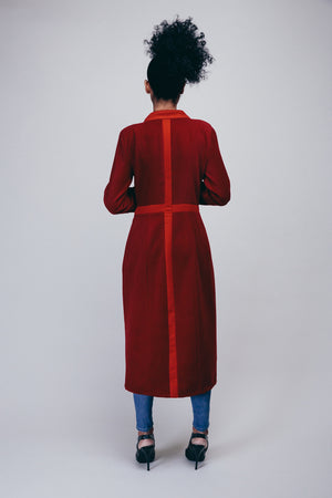 Long Red Jacket with Sleeve Detail