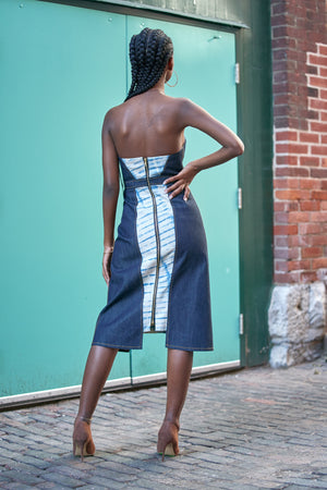 Strapless Shibori Denim Midi Dress