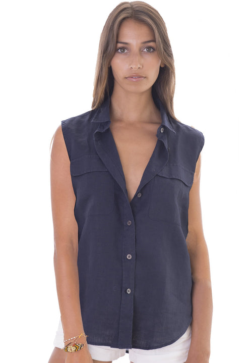 Aura Blue, Sleeveless Linen Shirt with Pockets