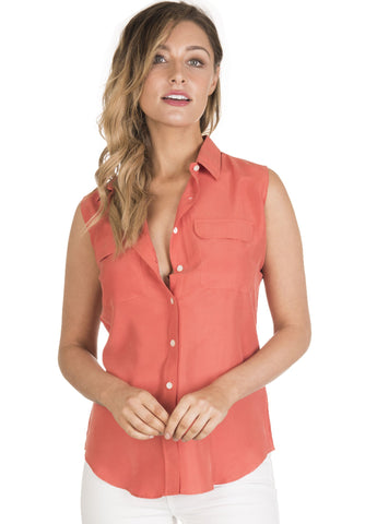 Aura Silk White, Sand-washed sleeveless shirt with pockets