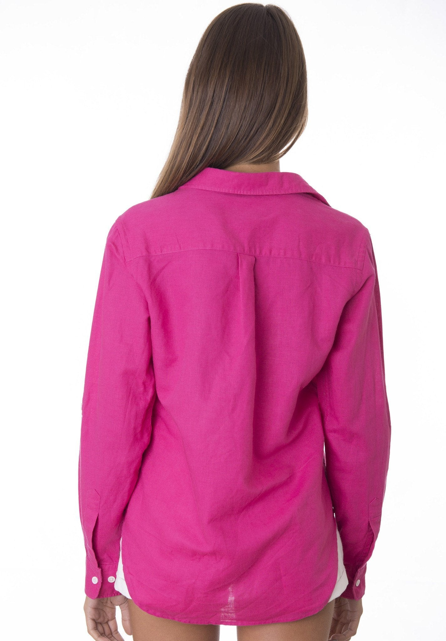 Febe Fuxia, Casual linen shirt with roll-up tabs