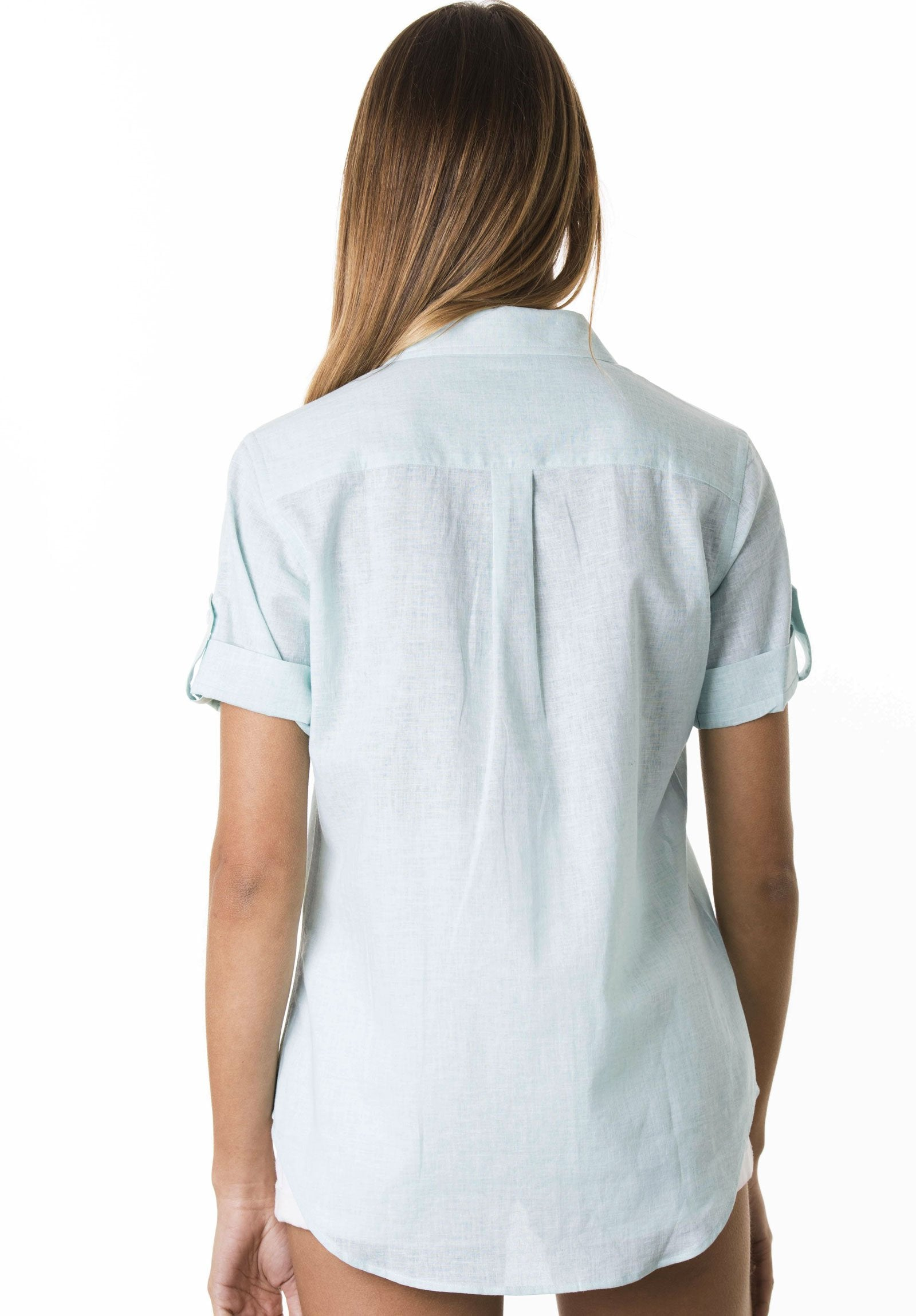 Febe Short Sleeve Cloud Blue, Casual Linen Camp Shirt