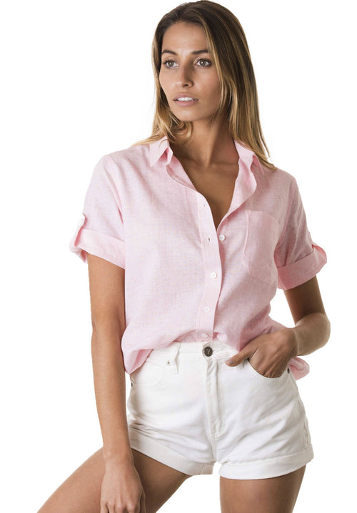 Febe Short Sleeve Pink, Casual Linen Camp Shirt