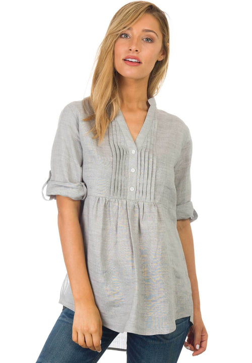 Fiona Cloud Grey, Linen Pop-Over Pintuck Blouse