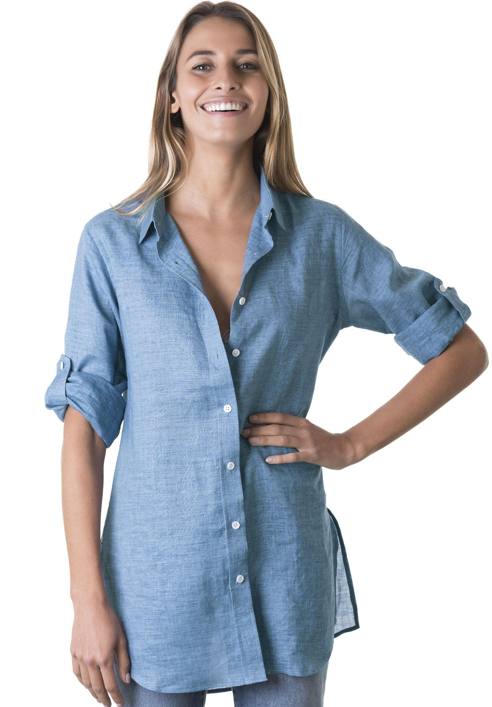Gaia Blue Melange, Casual Linen Tunic with 3/4 Sleeves