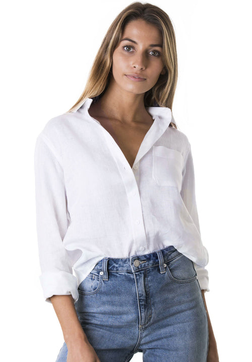 Iris White, Relaxed Linen Shirt