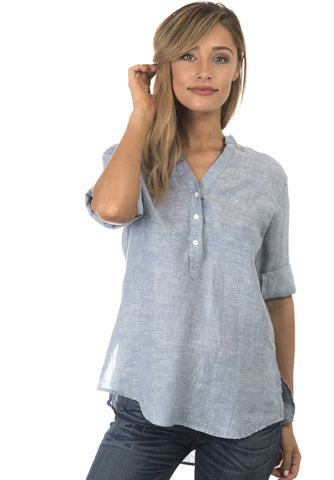 Kim, Lilac Pop-Over Linen Tunic Shirt
