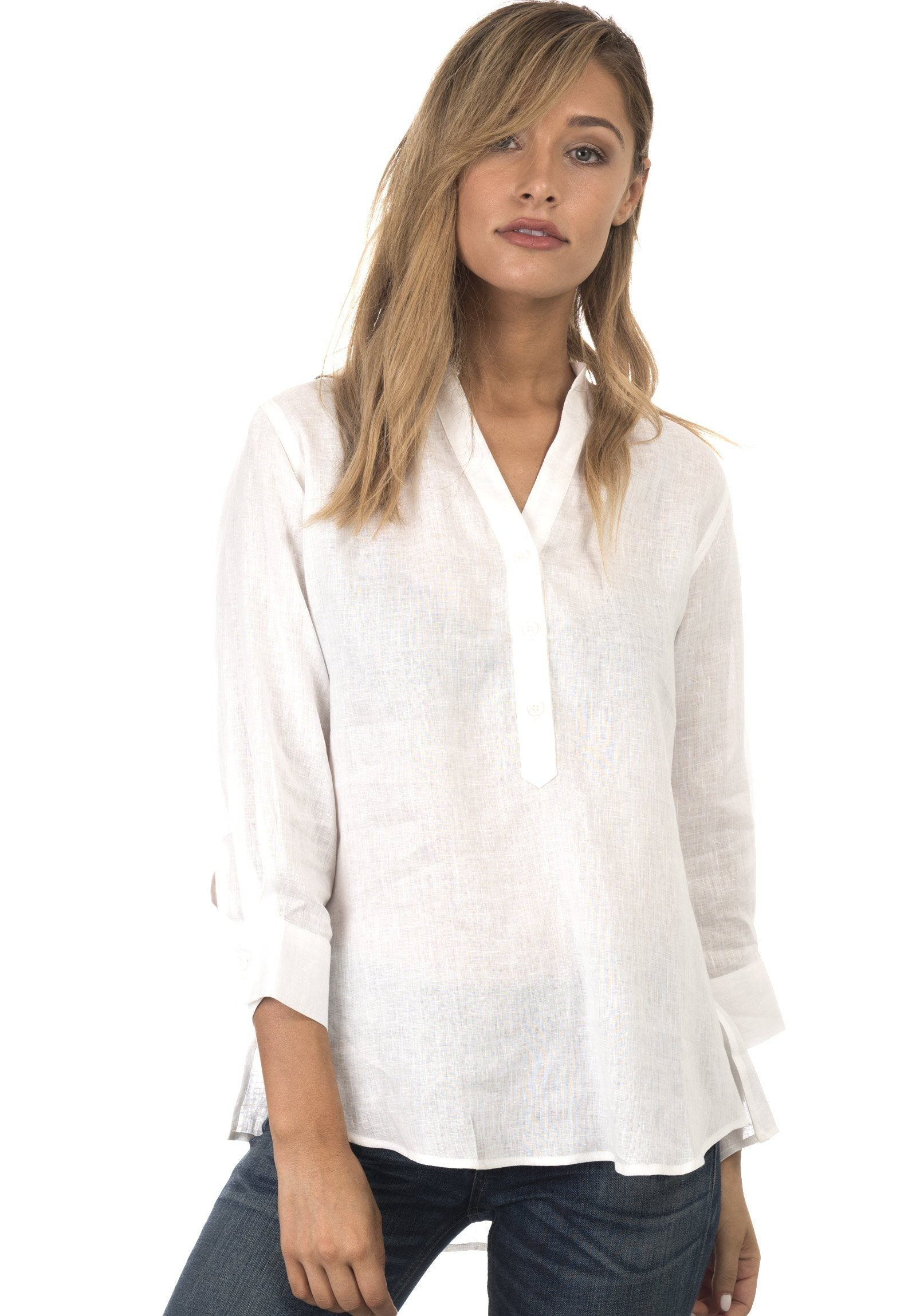 Kim, White Pop-Over Linen Tunic Shirt