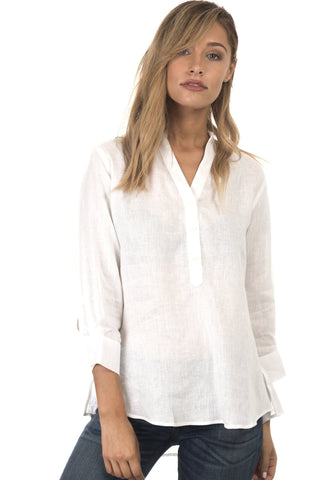 Lotus Off-White Mandarin Collar Linen Shirt