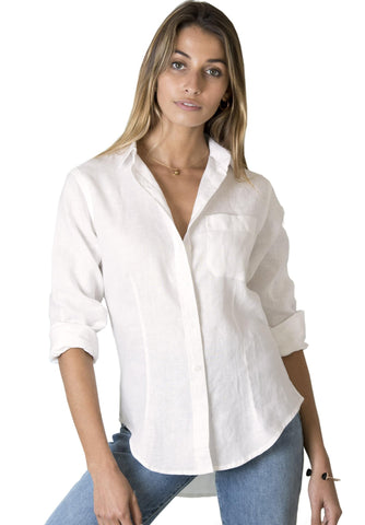 Febe Tropical Blush, Casual linen shirt with roll-up tabs