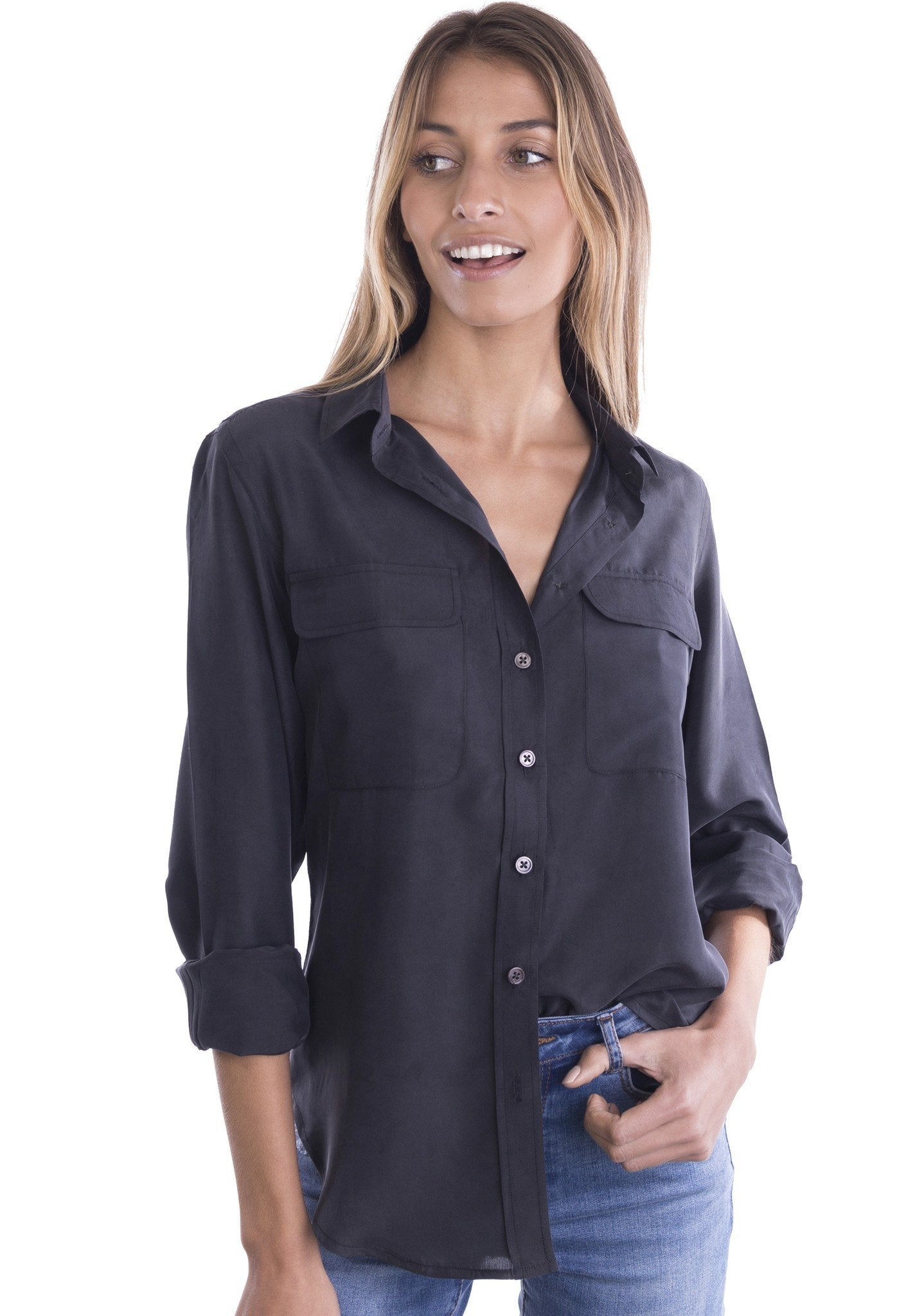 Lete Silk Black, Sand Washed Shirt with pockets