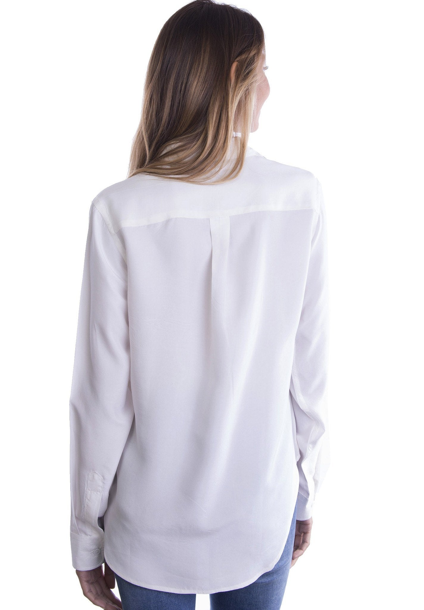 Lete Silk White, Sand Washed Shirt with pockets